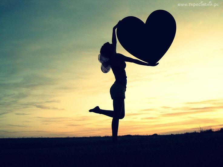 Kobieta, Trzyma, Serce