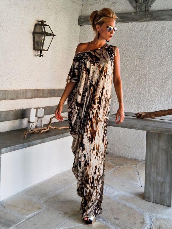 Satin Maxi Dress Kaftan / Summer Kaftan / Asymmetric Plus Size Dress / Oversize Loose Dress / #25009