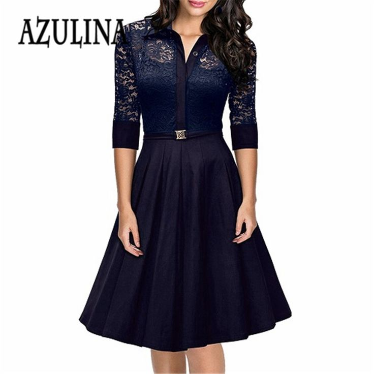 Barato AZULINA 1950 S 60 S Plus Size New Uma Linha Retro trabalho de Escritório Vestido Azul Elegante Do Laço Do Vintage Grande Hepburn Vestido Luxus vestidos, Compro Qualidade Vestidos diretamente de fornecedores da China: AZULINA Women Vestido Female Office A Line Dresses Floral Lace Splice Summer Vintage Cap Sleeve Ball Gown Backless Swing