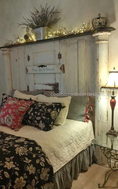 Old doors headboard…  Old doors headboard  http://www.coolhomedecordesigns.us/2017/11/28/old-doors-headboard/
