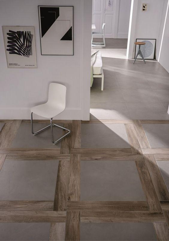 Marazzi Feinsteinzeug Fliese Block Beton in Kombination mit Holzfliesen. #Marazzi #Fliesenrabatte: