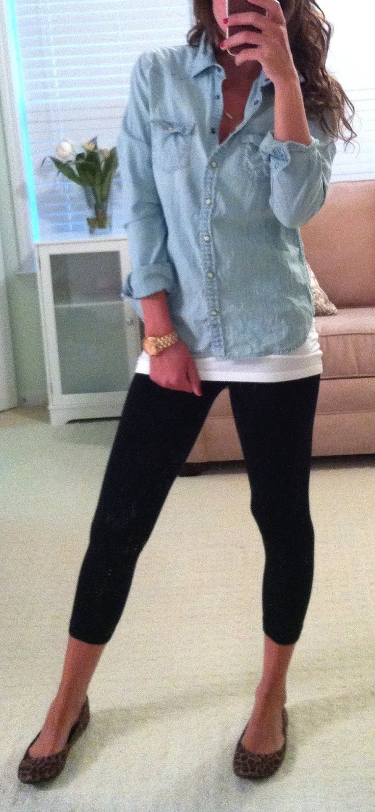 casual attire - denim button up, leggings and cheetah flats