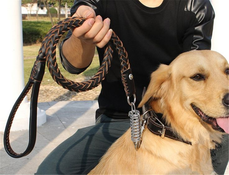 NACOCO Dog Braided Cowhide Leather Leash Dog Training/walking Leash Collar Combo with Studded Collar and Hole Puncher, Fit Medium to Large Breeds >>> Read more reviews of the product by visiting the link on the image.