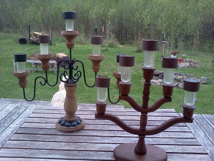 Candelabras From The Thrift Shop 2 Each And Solar Lights From The Dollar Tree
