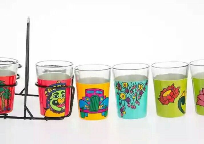 This concept is introduced to meet the growing demand of our best-selling series in Tapri Glasses.  It is a combination of six glasses from our best-selling sets: 1.    Tapri Glasses Ali Baba 2.    Tapri Glasses of OH Kolkata 3.    Tapri Glasses Classic Car 4.    Tapri Glasses Wind Chime 5.    Tapri Glasses Lotus 6.    Tapri Glasses of Hatti ki Sawari