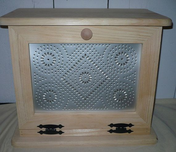 Handcrafted Wooden Bread Box With Punched Tin Door Tins