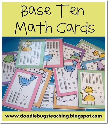 Base Ten - Place Value Math Counting Cards {free download} www.doodlebugsteaching.blogspot.com