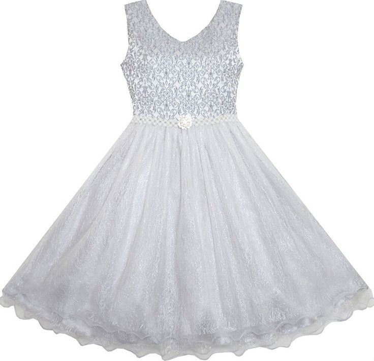 Girls Dress Pearl Sparkling Sash Shiny Glitter Party Grey Pageant Size 3-14…