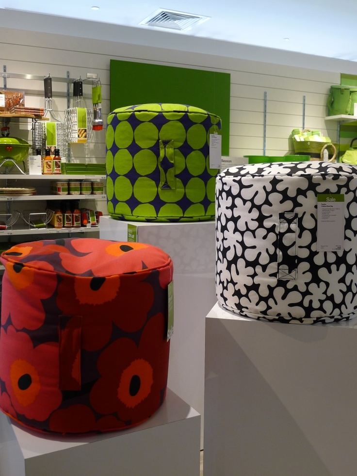 The super fun, retro pattern of these bean bags were designed by Maija Isola in 1964 so the bright colors are great for summer. They are easy to grab with an sewn in grab & go handle making them perfect for additional outdoor. Fun for kids too. Available at Crate & Barrel.