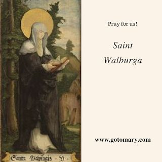The 25th of February is the feast of Saint Walpurga. She is also known as Walburga, Valderburg or Guibor. She is the patron saint of Eichstätt, Antwerp, sailors, mariners, and farmers, and against hydrophobia, famine, coughs, rabies, plague, and storms. #saint #saints #saintoftheday #catholic #catholicsaint #catholicsaints