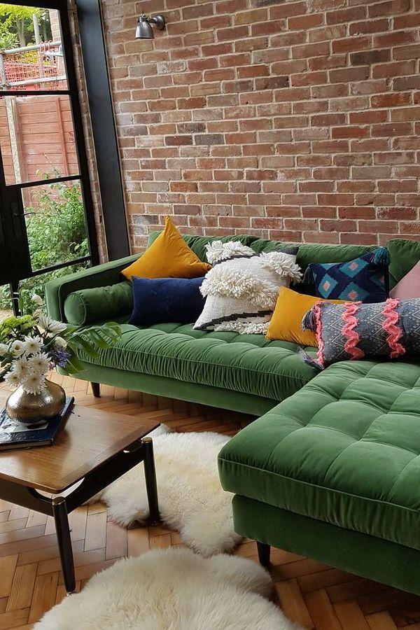 Home Green Home Living Room Couch Interior Velvet Sofa Furniture