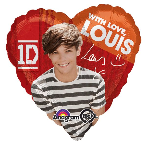 "Those other boys might be cute, but Louis is your true love! Show your 1D love with our One Direction Heart Balloon! This foil balloon features Louis and his signature, with the words ""with love, Loui"