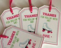12 Girls Birthday Party Favor Tags - Skating, Roller Skating - Girls Birthday Party Decorations, Girl Party Favors, FREE FAVOR BAGS