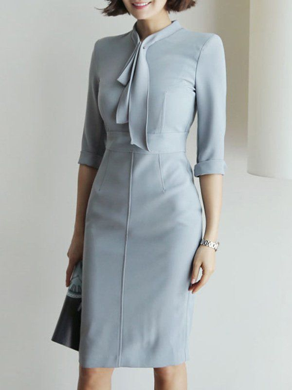 Solid Color Sashes Seven-Tenths Sleeves Midi Dresses