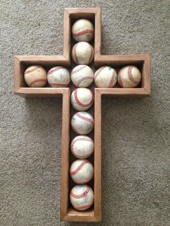 Baseball Cross Shadowbox, Perf for Harrison's game balls and others  <3 @Erick Stala