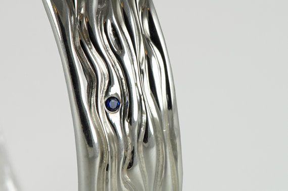 Heavy Sterling Silver Bangle  Water Bracelet by FineJewelrySavenko