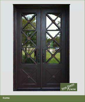 62 x 96 Roma Wrought Iron Double Door W/ Aquatex dual pane glass***FREE SHIPPING*** Iron Doors Now