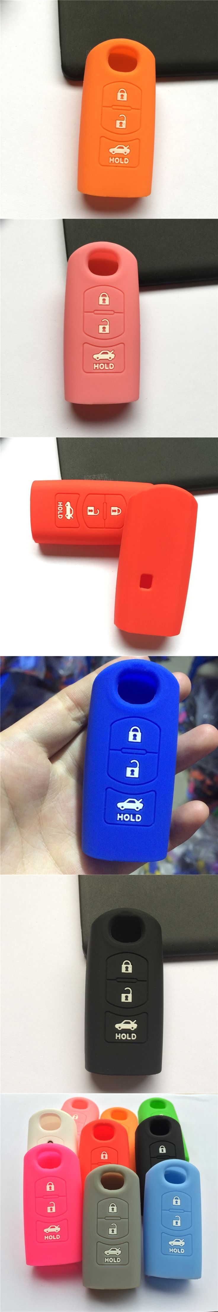 Silicone rubber car key Cover Holder set fit for MAZDA 3 5 6 Axela CX5 CX7 Atenza Core-wing Smart Remote Key Case 3 Buttons