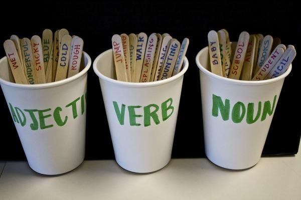 "Parts of Speech & Popsicle Sticks: use as a ""mad lib"" activity or put in a pile and then sort into right containers"