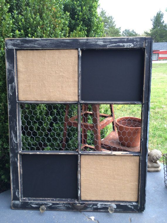 Reclaimed Old Window - Chalkboard - Burlap Cork board - Chicken Wire - Shabby Chic Black - Antique Glass Knobs - Rustic Farmhouse Salvaged