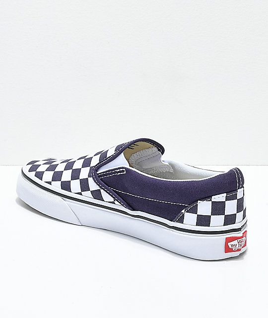Vans Slip-On Nightshade Purple Checkered Skate Shoes in 2019 ... 92aa5ea03