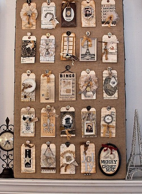 December tag board.    Very shabby chic/vintage!  scrapbooking by Natalia Grace