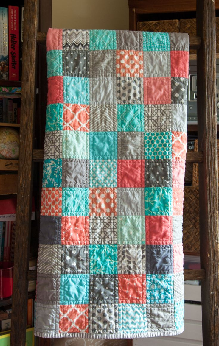 Modern baby patchwork quilt Colors: corals, blue and grays