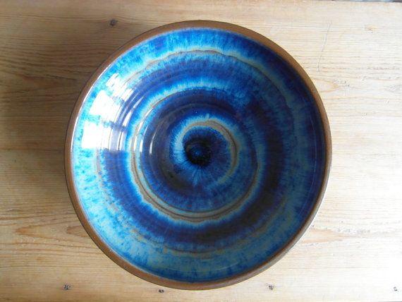 Vintage Michael Andersen - large bowl - blue - spiral decoration - 6027 - stoneware - midcentury