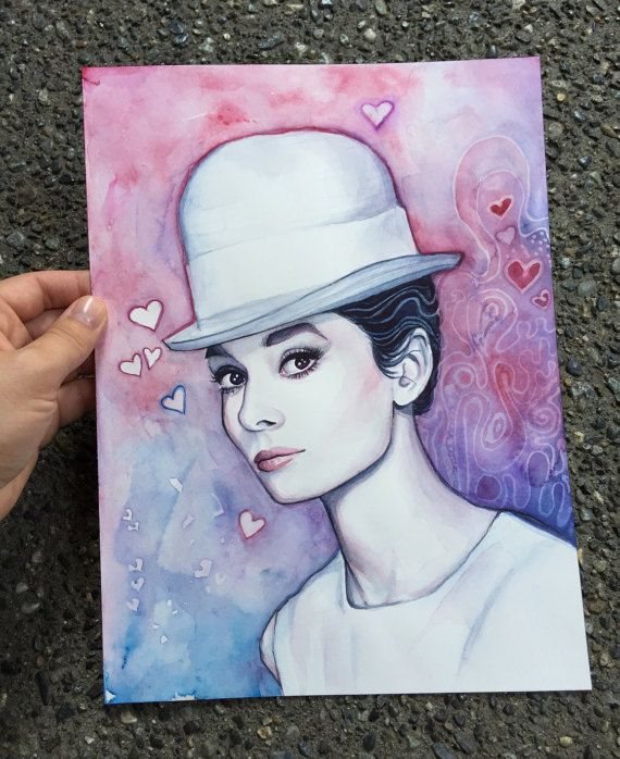 Audrey Hepburn Portrait ORIGINAL Watercolor by OlechkaDesign