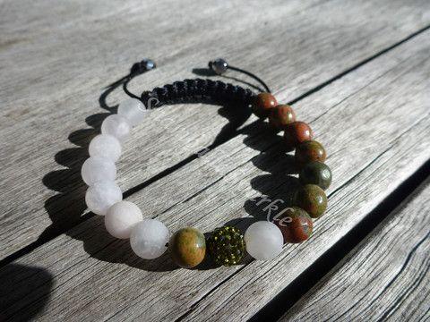 Yin Yang Unakite and Matte Rose Quartz Shamballa Bracelet