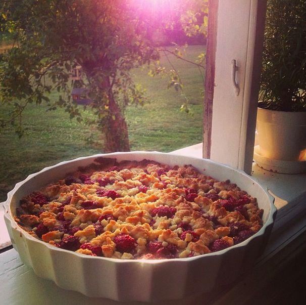 Summer pie with wild raspberrys