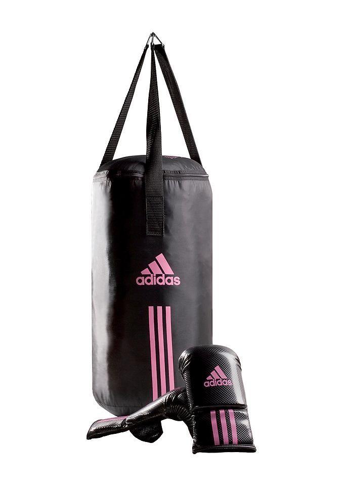 SET: Damen-Box-Set, Adidas Performance, »Women´s Bag Kit«.  Das Women's Bag Kit ist das ideale Einsteigerpaket für Frauen. Die Ballhandschuhe bestehen aus strapazierfähigem DURATEC Kunstleder, sind weich gepolstert und schützen die Hand- und Fingergelenke. Der Boxsack ist aus Fallschirm-Nylon-Material und ausschließlich mit Textilien gefüllt. Die 4 Punkt-Kettenaufhängung mit Nylonbändern ist mi...