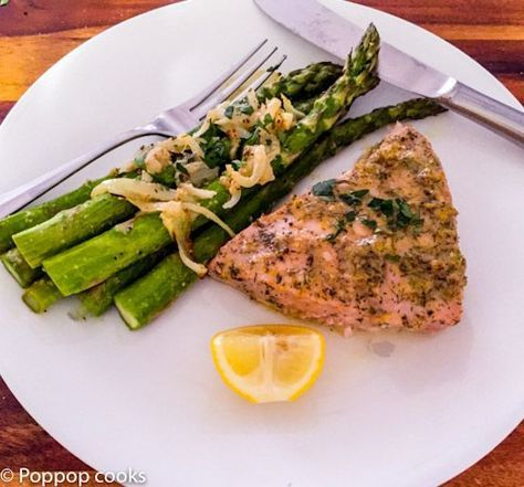 Oven Baked Tuna Steak Dinner recipe with fresh asparagus side.