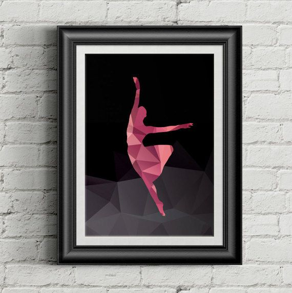 Ballerina in purple hued polygons on black background- decorative digital printable wall art - ready to frame  If you love dancing or to watch