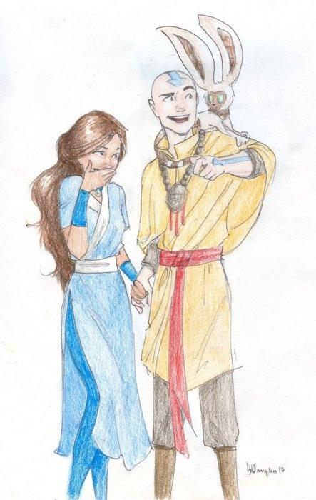 Katara and Aang.