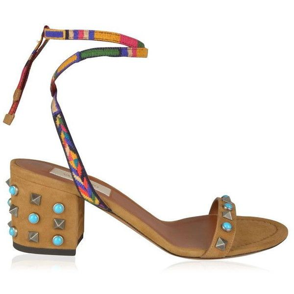 Valentino Suede Block Heel Sandals ($475) ❤ liked on Polyvore featuring shoes, sandals, multi color sandals, multicolor shoes, suede shoes, valentino shoes and open toe sandals