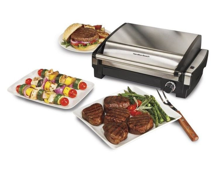 Electric Tabletop Grill Indoor Nonstick Removable Grid BBQ Dishwasher Safe NEW #HamiltonBeach