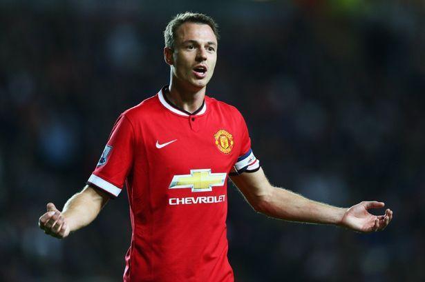 Man United skipper for the night Jonny Evans looks lost