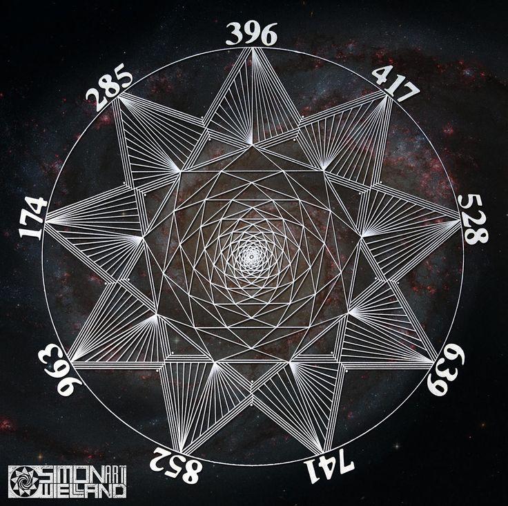 The Sacred Geometry of the Sacred Solfeggio frequencies. Simon Wieland Art, Sacred Geometry.