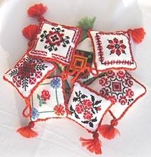 Hand-embroidered Ukrainian Pin-Cusion Christmas ornaments
