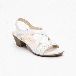 Sandalias de tacón, cuero Blanco Tacón: 6 cm
