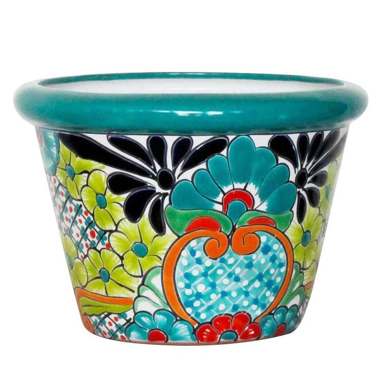 Ceramic Planters For Sale Part - 24: This Delightful Talavera Planter Embodies All The Charm Of Mexican  Talavera. Featuring Intricate Floral Patterns And A Unique Turquoise Rim,  This Striking ...