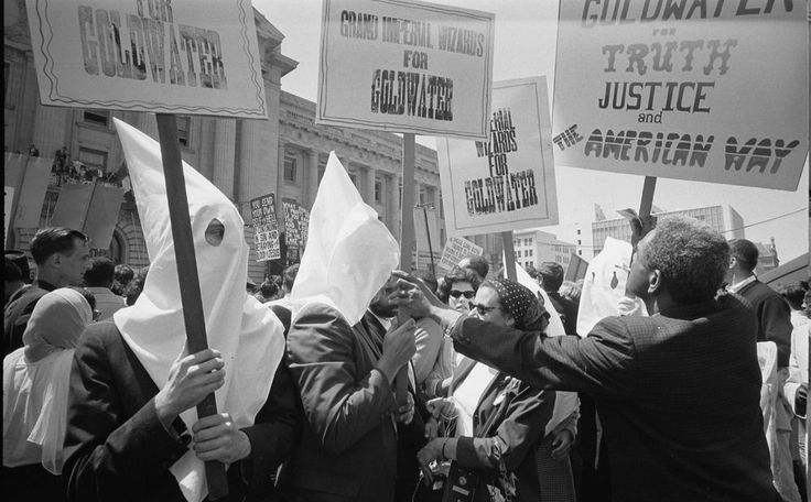 Ku Klux Klan members demonstrate in support for Sen. Barry Goldwater at the 1964 convention. via reddit