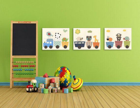 Art For Kids // Giraffe Nursery Kid Room Decor // Nursery Train // Choo Choo Train // Circus Friends // Nursery Set Of 3 prints Prints