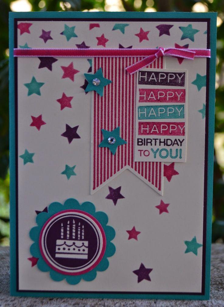 Starry Starry Banner Birthday, Amazing Birthday, Star Mask, Girl Birthday Card, Christies Creative Corner, Stampin' Up!, Christie Kunkel