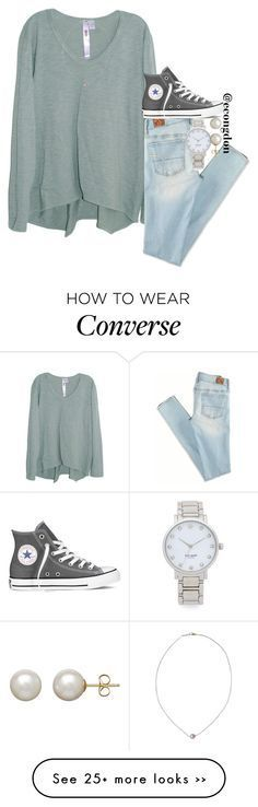"""""""grey converse"""" by econgdon on Polyvore featuring Wilt, American Eagle Outfitters, Converse, Kate Spade, Honora and Karapetyan"""
