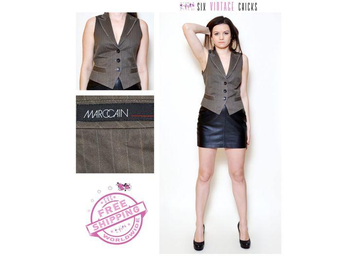 Vintage Marc Cain brown vest / Stripe pattern vest / short slim fitted vest / boho style vest Size S/36 / Gift Idea for Her by SixVintageChicks on Etsy