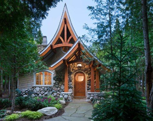 storybook cottage house plans. Stock plan from Hendricks Architecture in Sandpoint Idaho. 835 Sq ft.