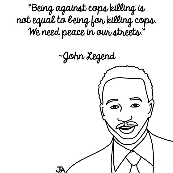 Rappers (And John Legend) React To Police Violence. Illustration by Jena Ardell for OC Weekly Music. #JohnLegend