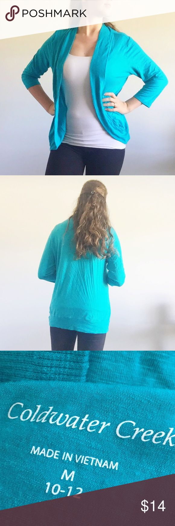 Coldwater Creek turquoise cardigan long top This top fits great over leggings, and can be worn with lots of different colors under it. Beautiful open design, works great when you have to dress in layers in the fall! Coldwater Creek Tops